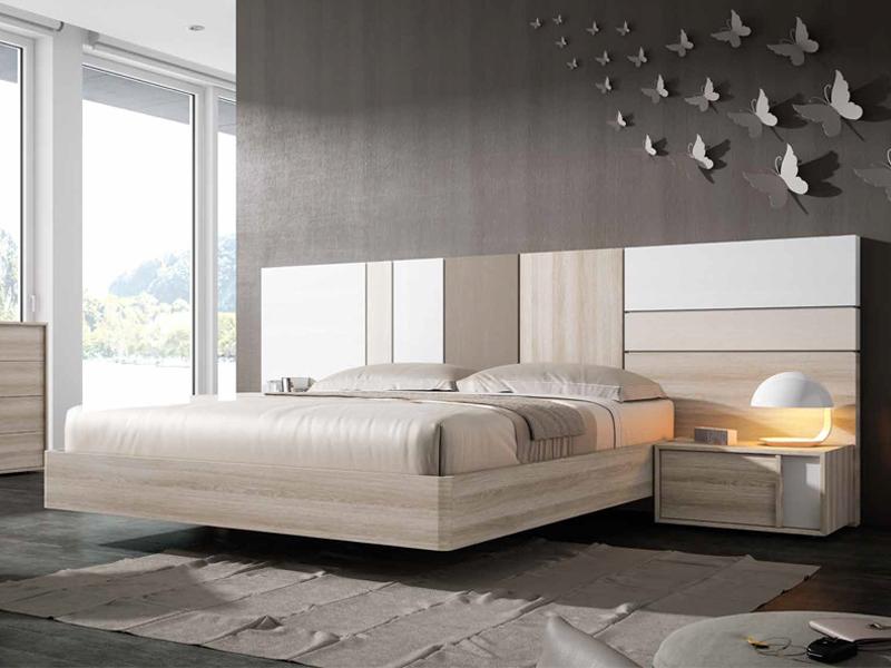 Dormitorio matrimonio cama con cabezal largo mod sm06 - Dormitorios modernos en blanco y plata ...