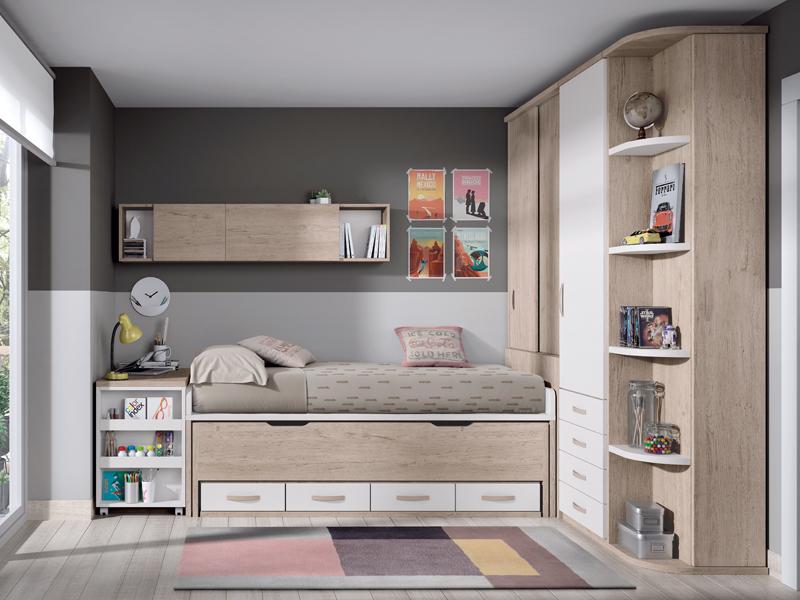 Dormitorios juveniles juvenil con escritorio extraible for Dormitorios juveniles con escritorio