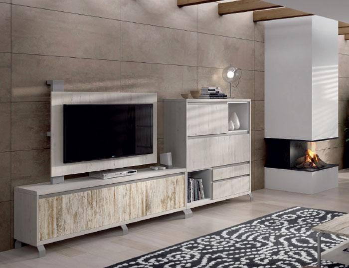 Comedor moderno con modulo bajo para TV en Terrassa