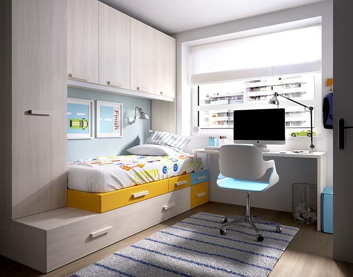 Dormitorios juveniles puente nido con cama y escritorio for Cama puente con escritorio