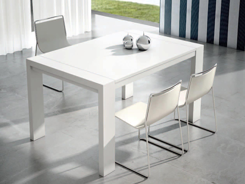 Mesas y sillas mesa rectangular extensible blanca mod 29 for Mesa rectangular extensible